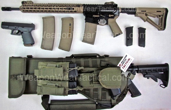 OD Green Tactical Scabbard Sling for AR-15 Rifle Pistol & Mag Pouch included