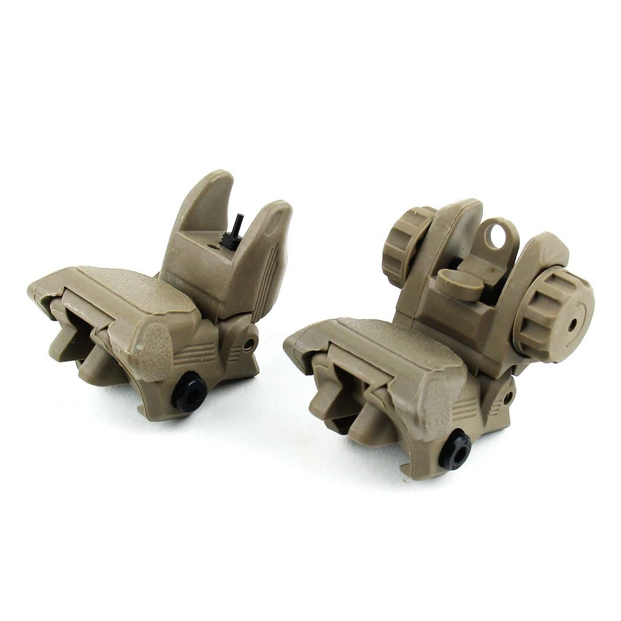 FDE Polymer Tactical Folding Flip Up Front & Rear Sights Dual Aperture Backup