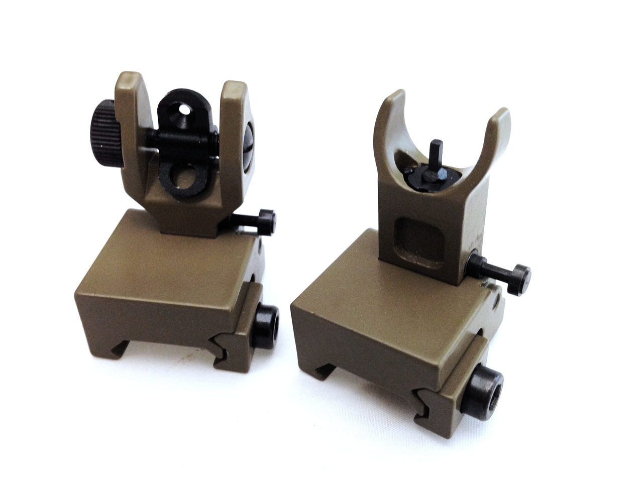PRO SERIES! FDE FLIP UP FRONT REAR SIGHTS SET FOR PICATINNY RAILS AND FLATTOP AR15 AIRSOFT Flat Dark Earth