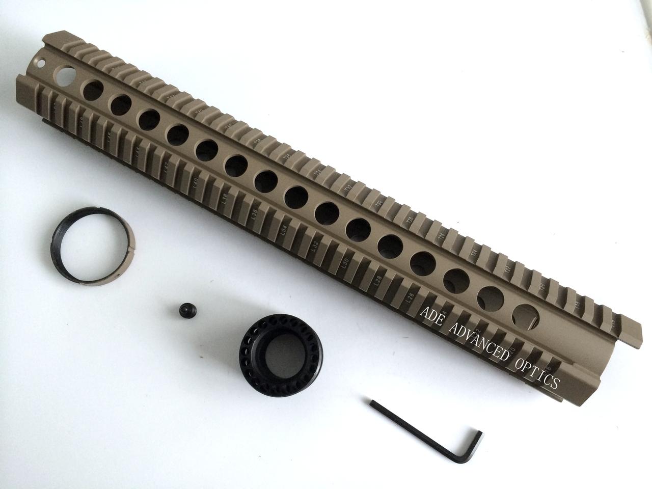 "AR15 FDE! TAN 15"" inch Extra Long Free Float Aluminum Handguard Rifle Quad Rail .223"