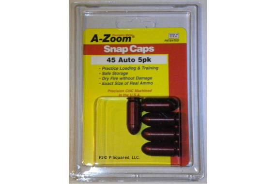 A-Zoom Precision Metal Safety .45 Auto Snap Caps Dummy Ammo (5) Pack # 15115
