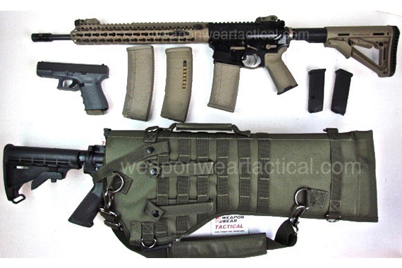 AR 15 RIFLE TACTICAL CASE SLING PISTOL & MAG POUCH INCLUDED OD Green