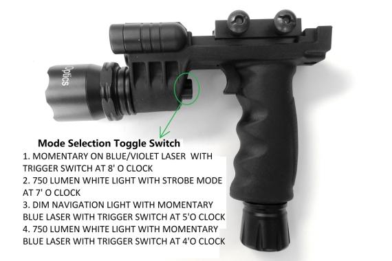 BLUE LASER+700 Lumen STROBE Flashlight+Dim Light Combo Sight+Rifle Foregrip
