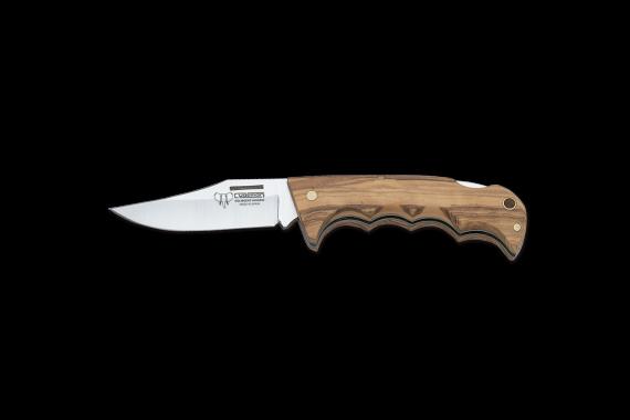 Cudeman Folding Knife with 8 cm Molybdenum Vanadium Steel Blade & Olive Wood Handle + Brown Leather Sheath
