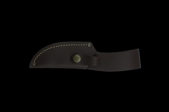 Cudeman Hunting & Outdoor Knife with 10.5 cm Molybdenum Vanadium Steel Blade & Red Stamina Handle + Brown Leather Sheath