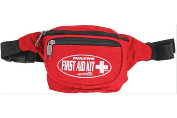 Hikers First Aid FA130 Kit Red Nylon Fanny Pack W/ Adjustable Waist Band