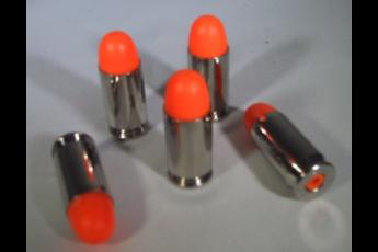 NEW! P2 BRASS Series .45 ACP Snap Caps, Dummy Ammo, Training Rounds, Nickel, ORANGE