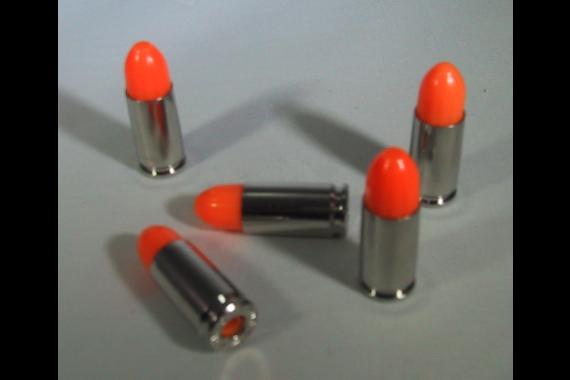 P2 BRASS Series 9mm Snap Caps, Dummy Ammo, Training Rounds, Nickel, ORANGE