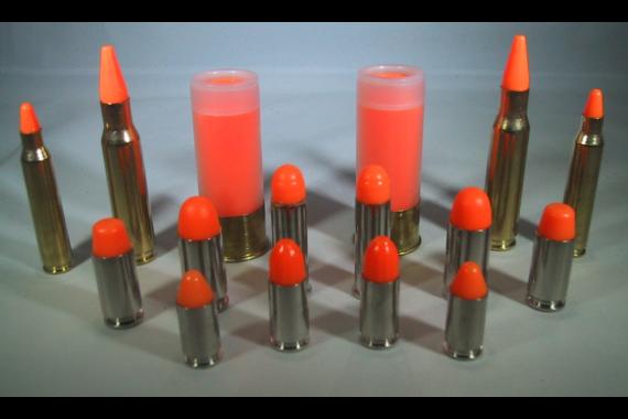 P2 BRASS Series Snap Caps, 380 ACP Dummy Ammo, Training Rounds, Nickel, ORANGE