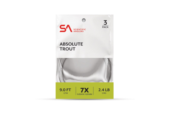 Scientific Anglers Absolute Trout 7.5 ft 4X Leader 3 Pk