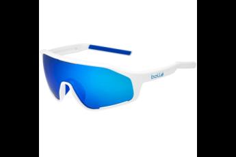 Shifter Sunglasses, Shiny White Frame, Brown Blue Lens