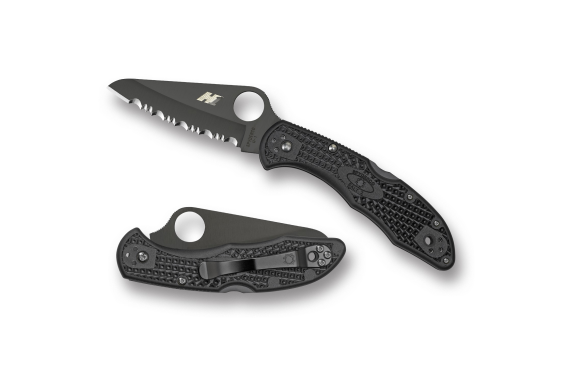 Spyderco Salt 2 Folder 3.0 in Black Serr Black FRN Handle
