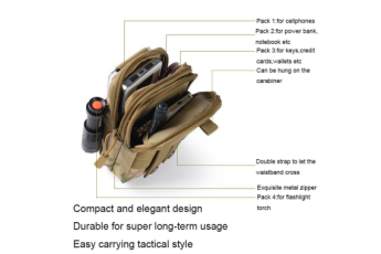Tactical Molle Pouch Utility Belt Waist Bag With Cell Phone Holster, Military Police Utility Pouch